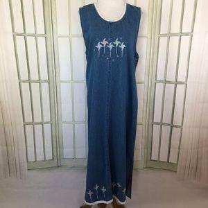 Decorated Originals Overall Denim Maxi Dress